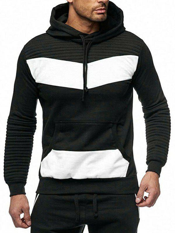 Color Spliced Drape Panel Casual Hoodie - WHITE S