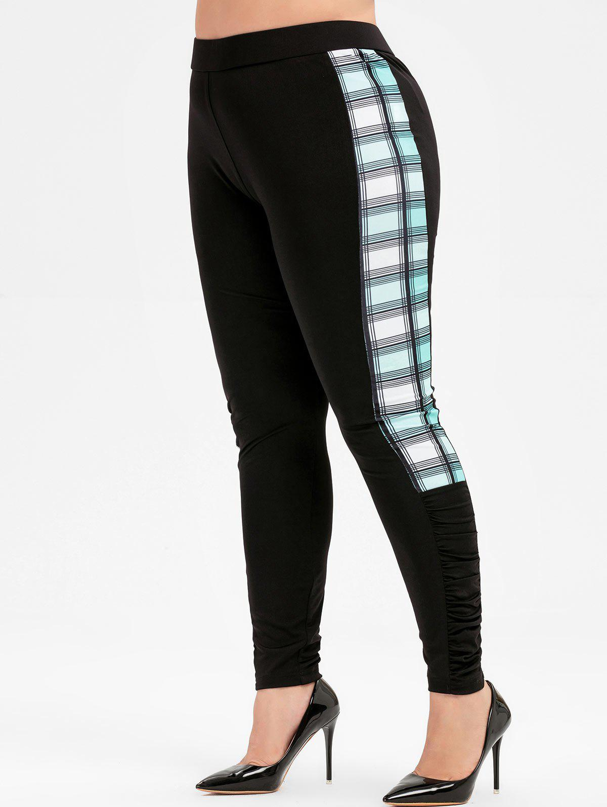 Plus Size Plaid Splicing Leggings - Noir 4X