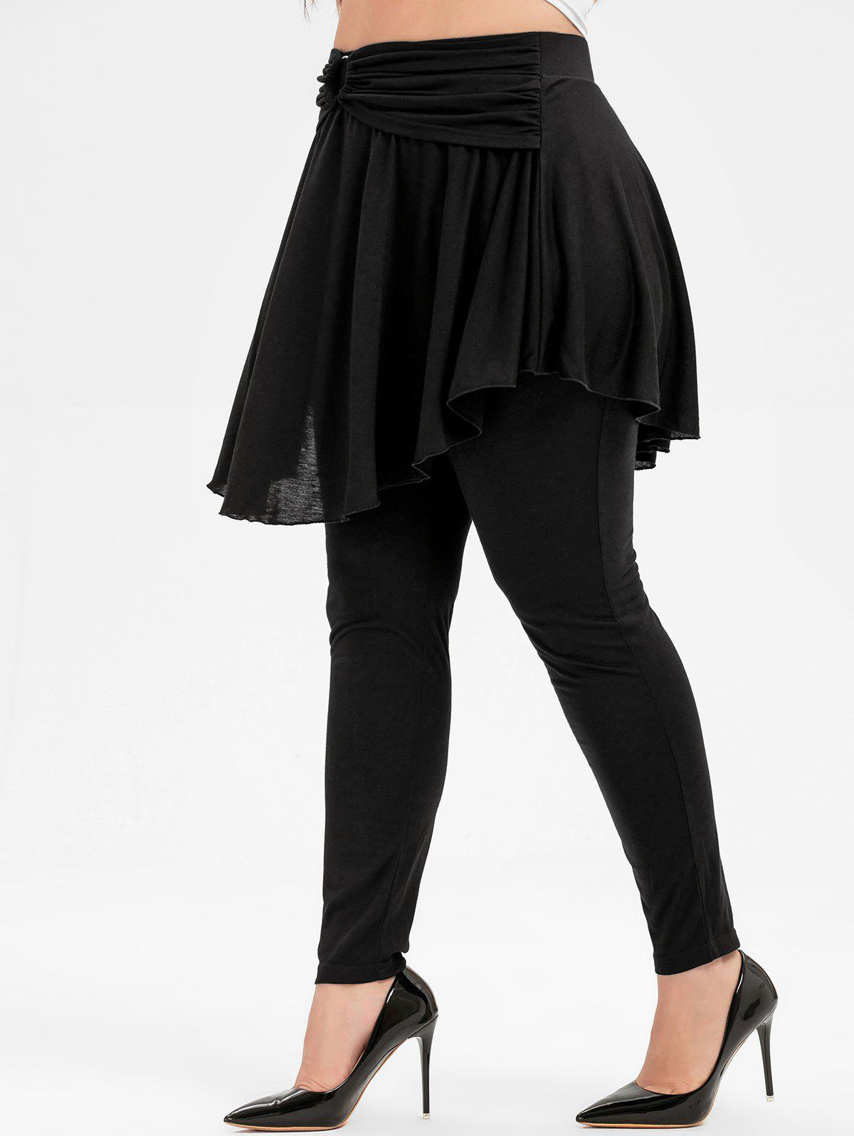 Plus Size High Rise Skirted Pants - BLACK L