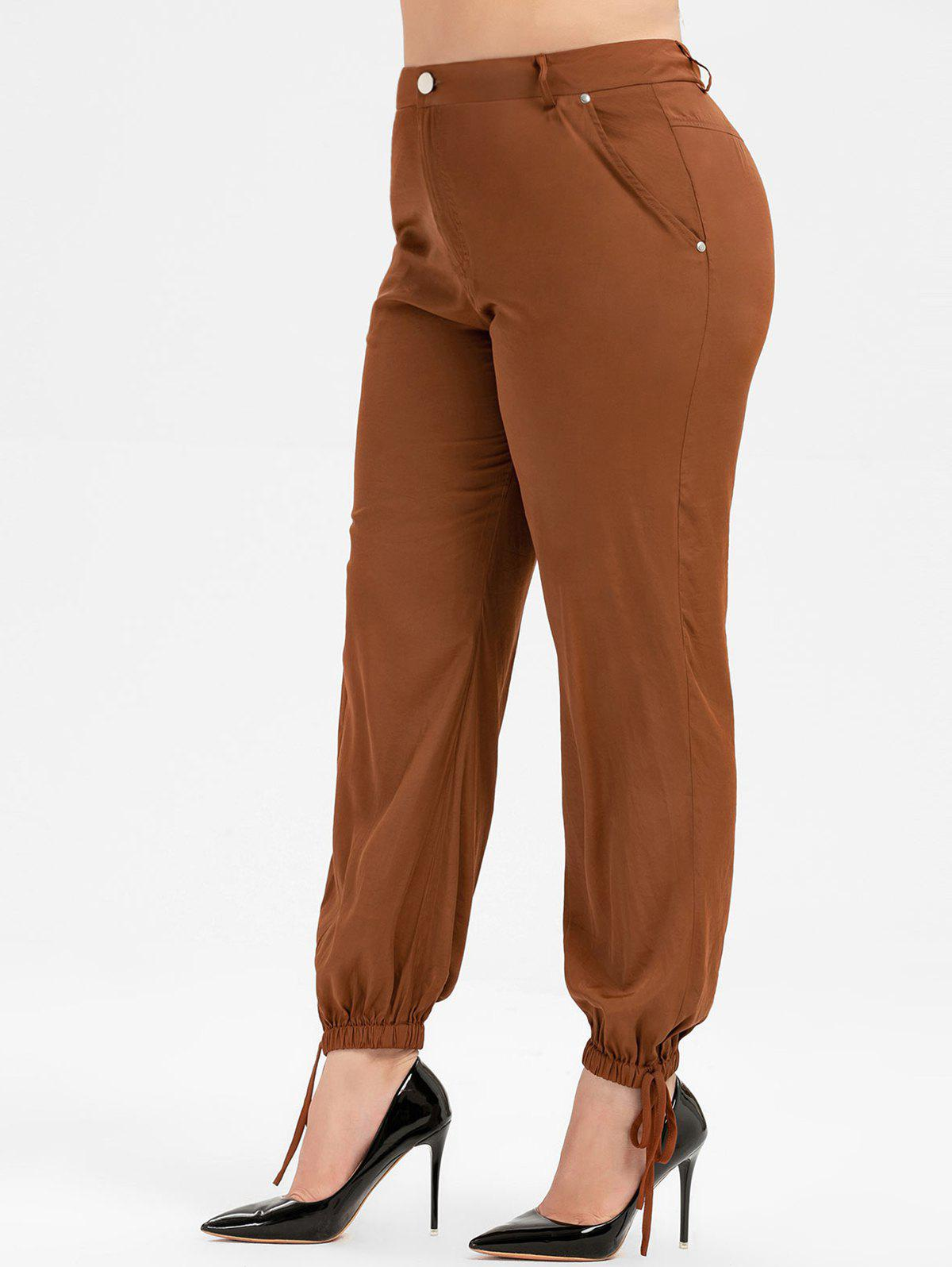 Plus Size Zip Fly Pants - BROWN 5X