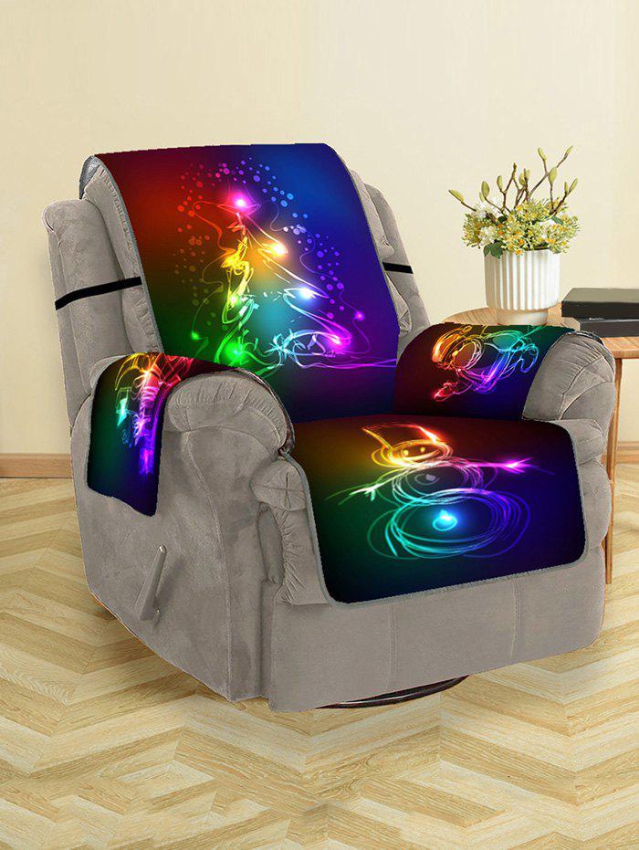 Christmas Tree Santa Snowman Gifts Pattern Couch Cover - GUNMETAL SINGLE SEAT