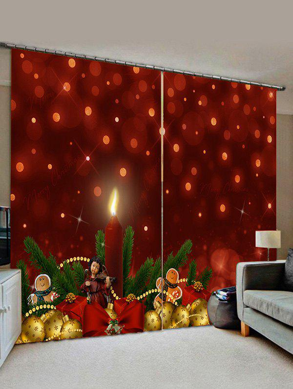 2 Panels Christmas Pine Branch Balls Print Window Curtains - RED WINE W33.5 X L79 INCH X 2PCS
