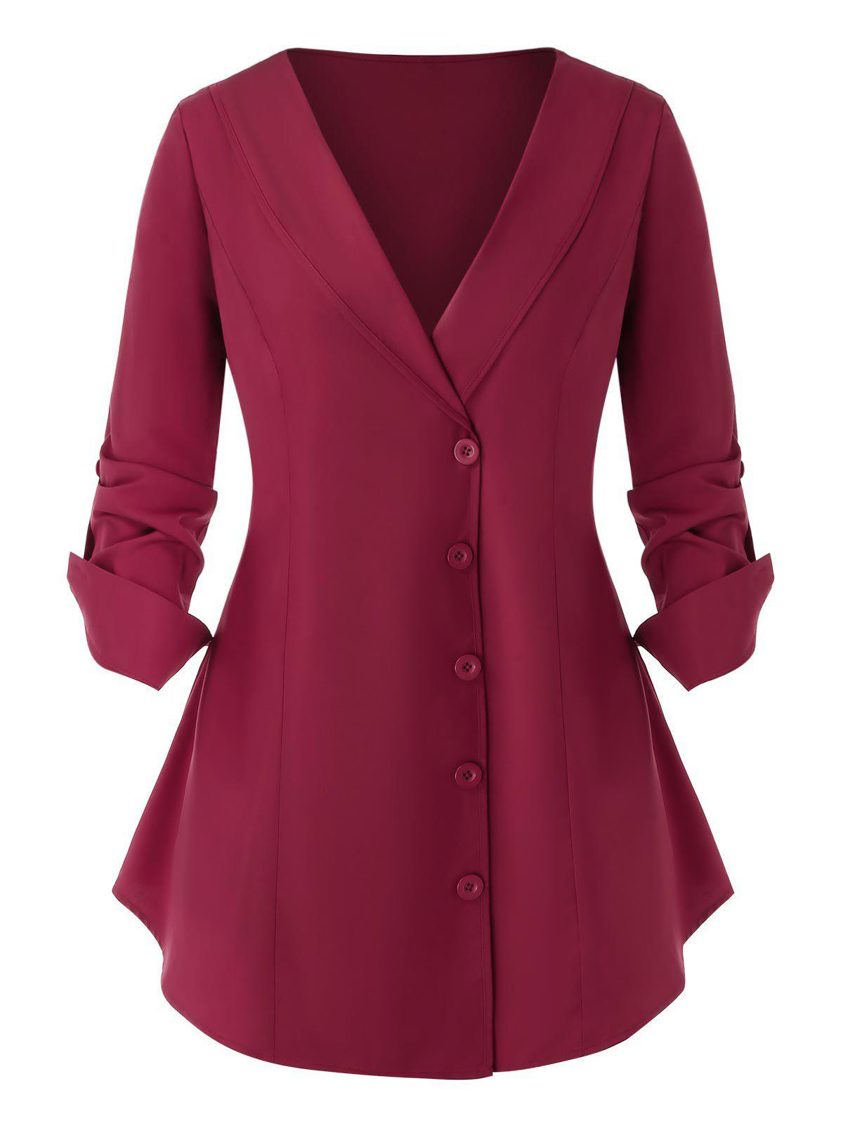 Plus Size Buttons Long Sleeve Top - RED WINE L