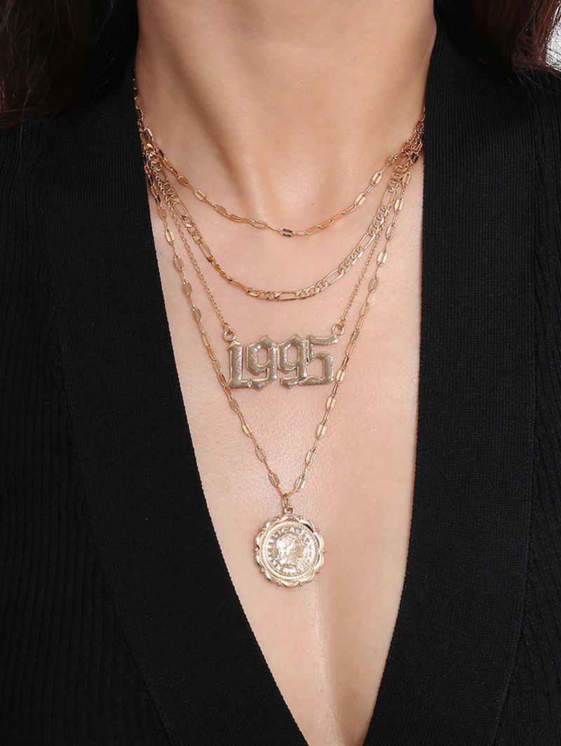 Coin Pendant Hollow Number Layered Necklace - GOLD