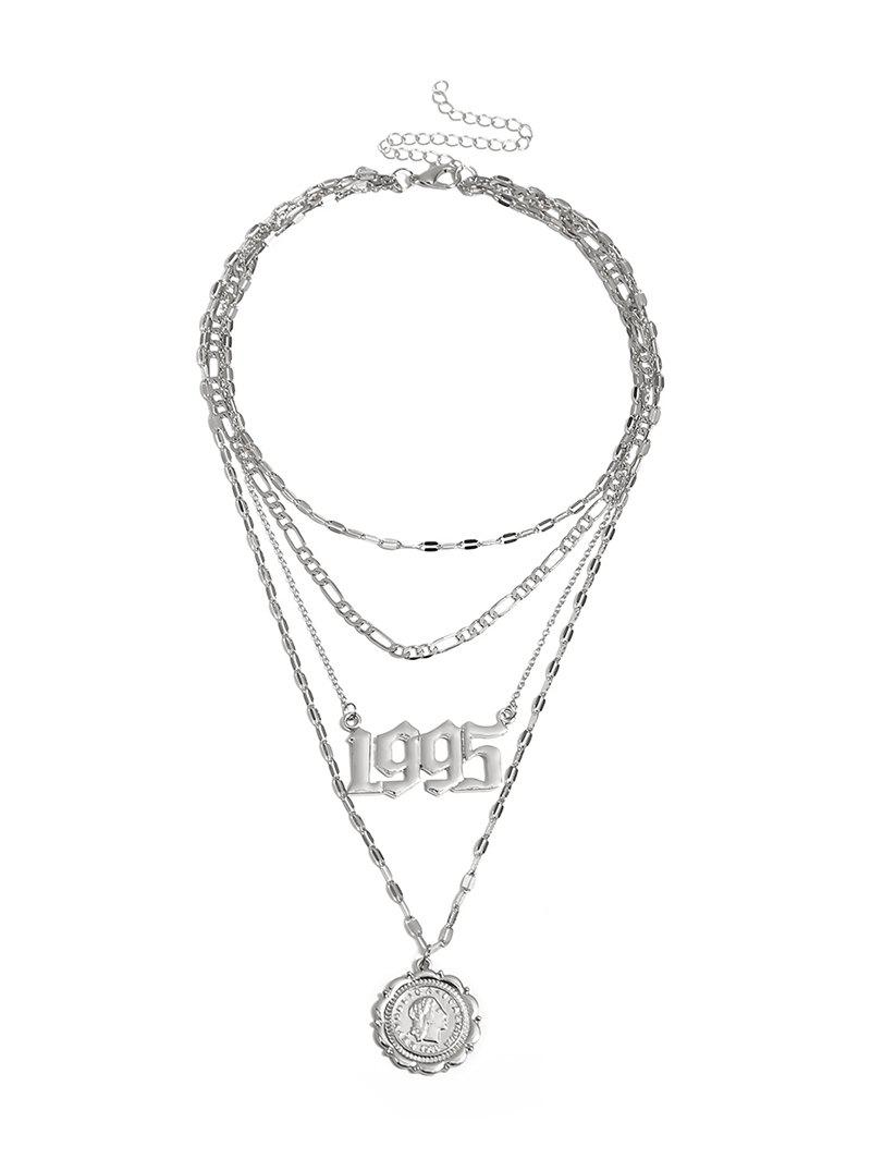 Coin Pendant Hollow Number Layered Necklace - SILVER