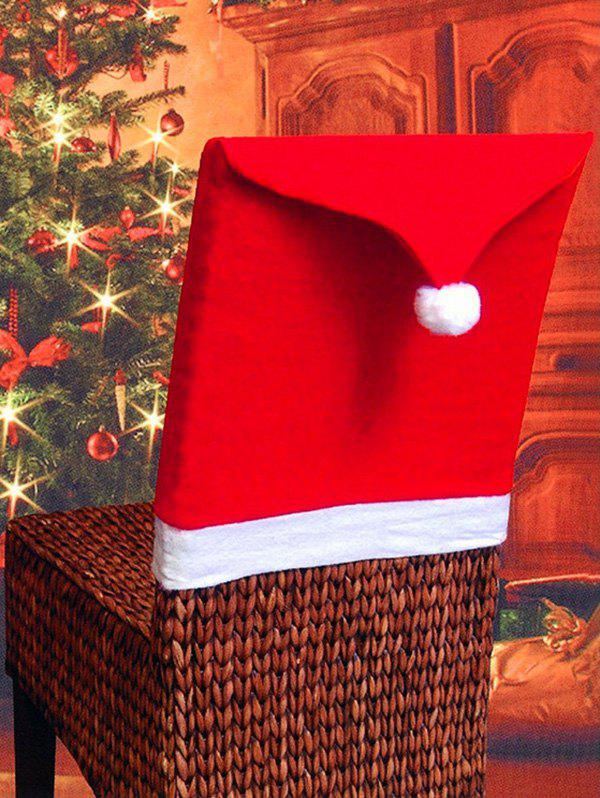 Christmas Hat Contrast Pattern Chair Back Cover - RED