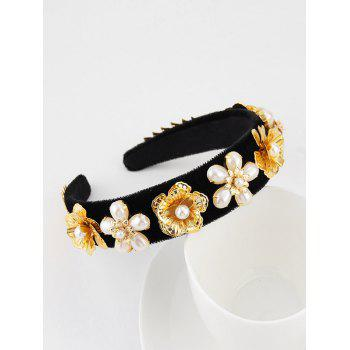 Faux Pearl Floral Velour Wide Hairband