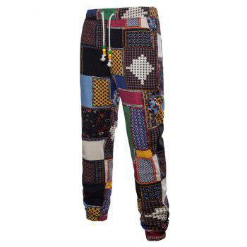 Tribal Ditsy Patchwork Print Casual Jogger Pants