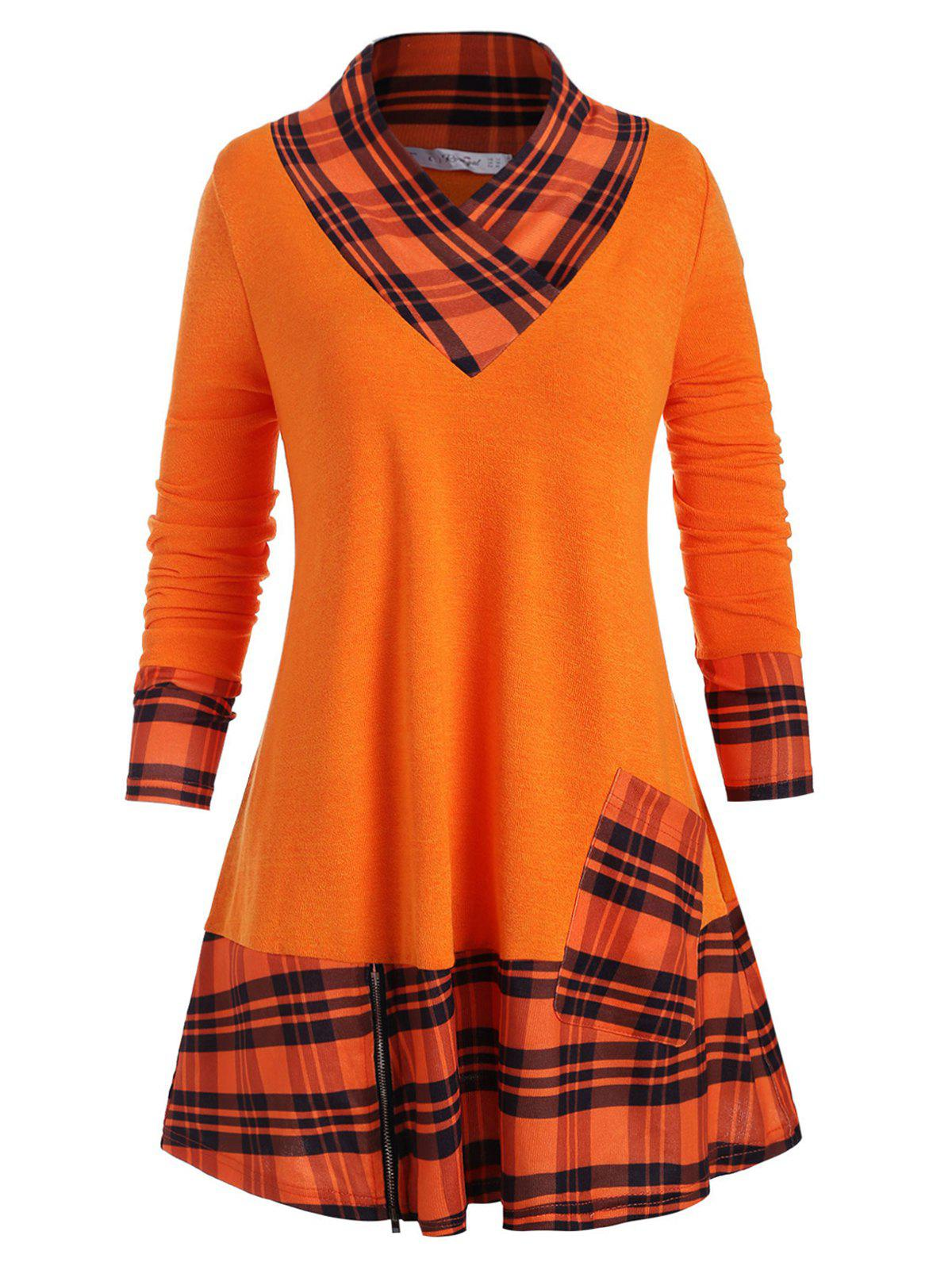 Plus Size Plaid Flounced Knitwear - ORANGE 3X