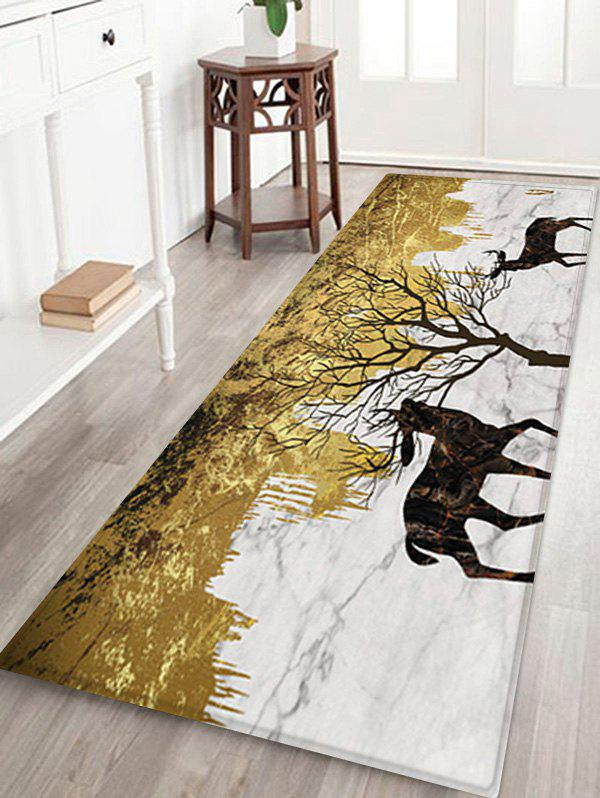 Elks and Tree Pattern Water Absorption Area Rug - multicolor A W24 X L71 INCH