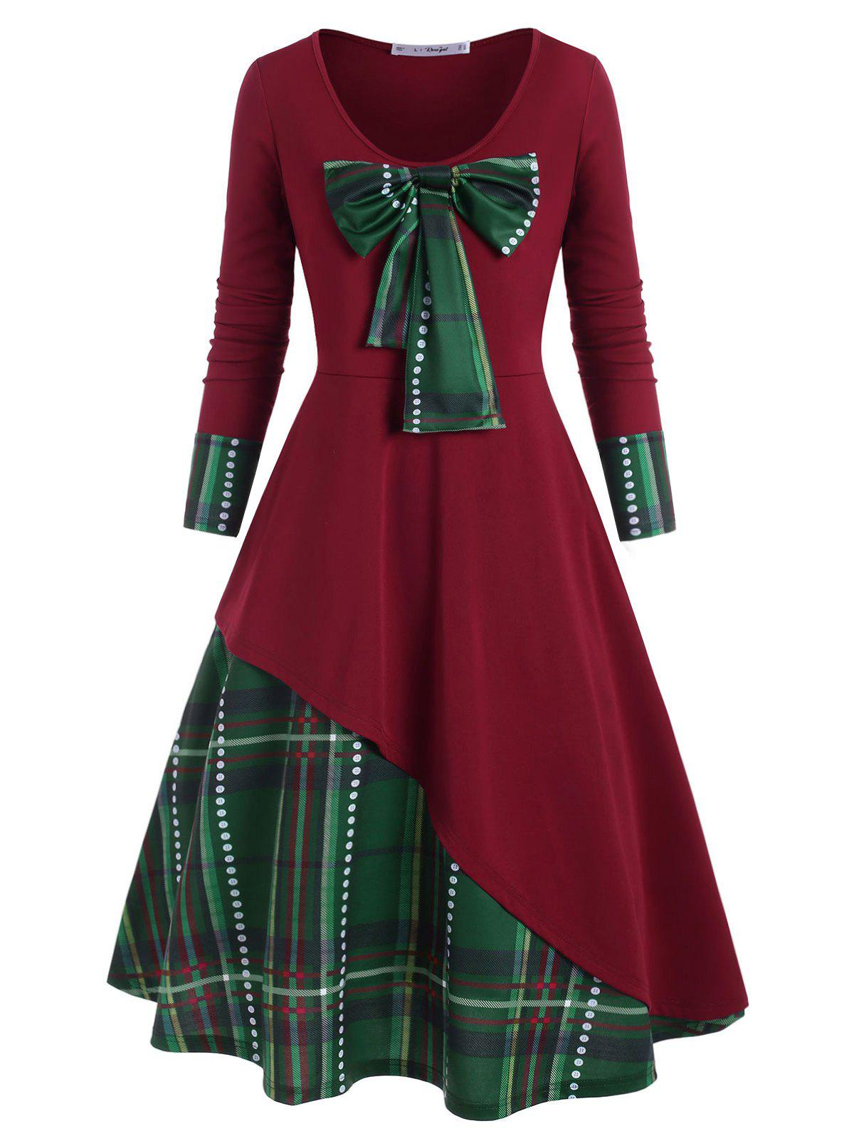 Plus Size détachables bowknot Plaid Robe de Noël - Rouge Vineux 4X