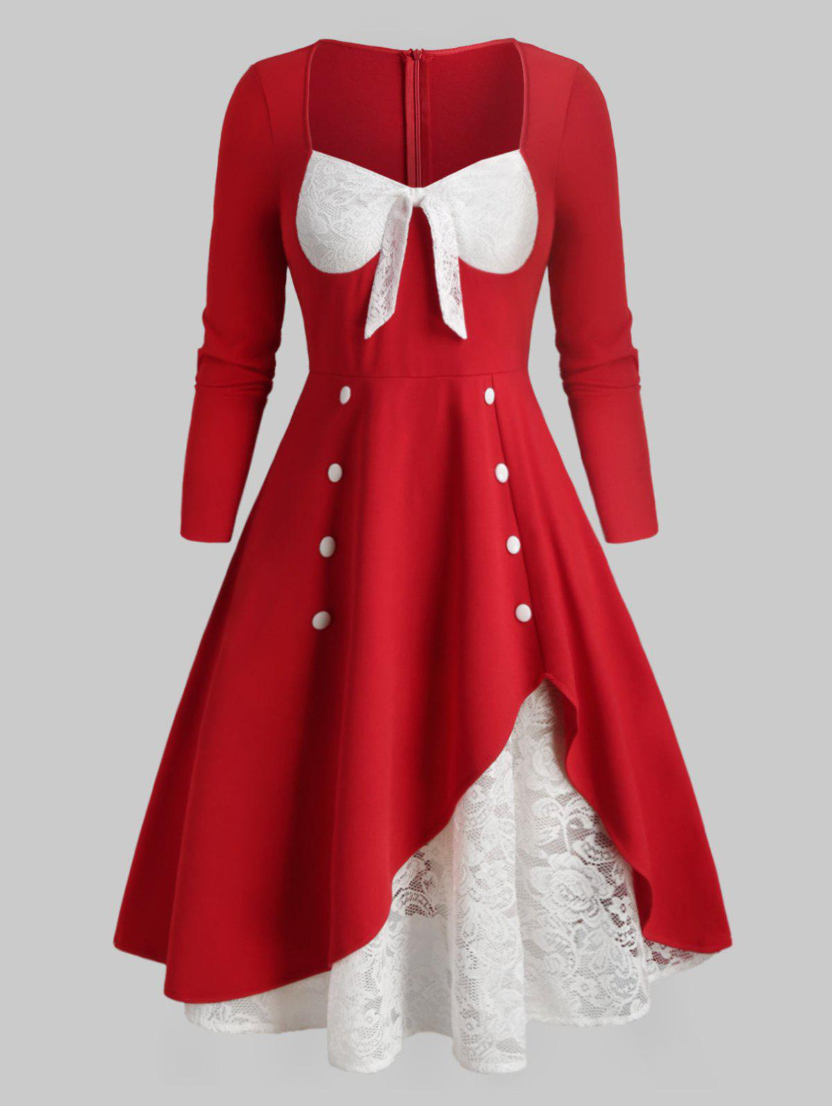 Plus Size Bowknot Lace Insert Christmas Dress - RED 1X