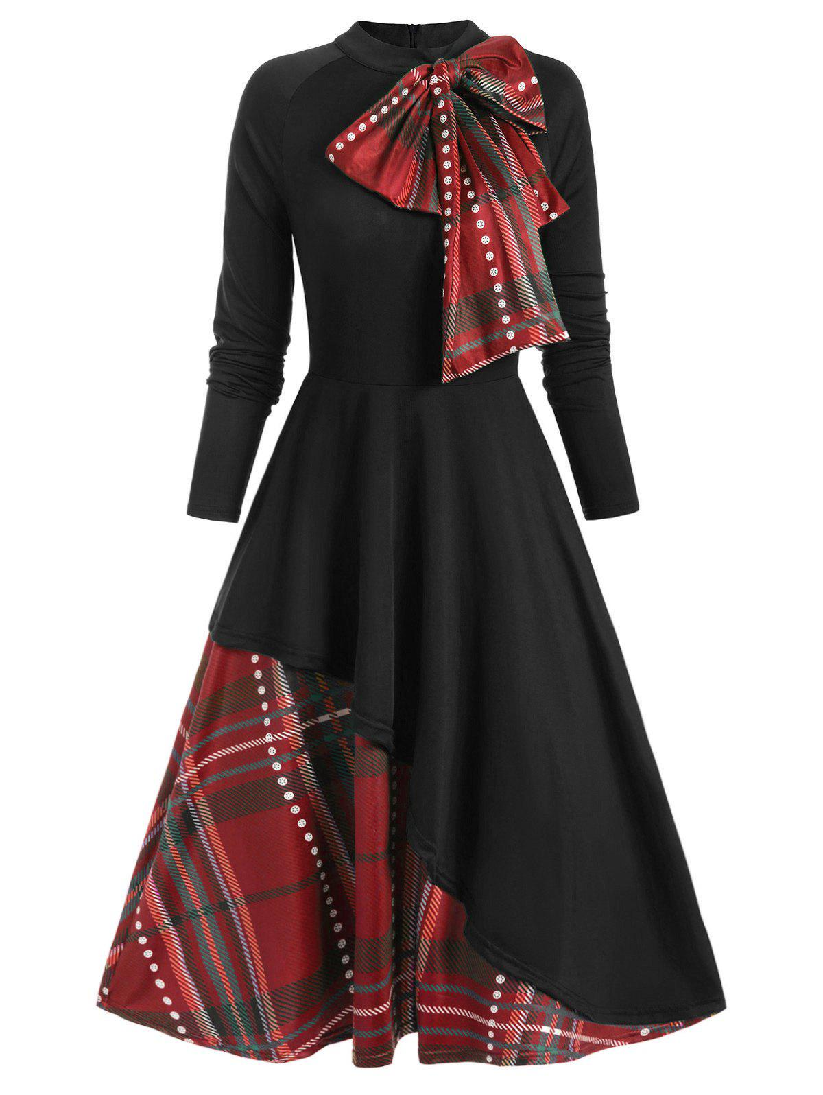Plaid Contrast Bowknot Long Sleeves Overlay Dress - multicolor L