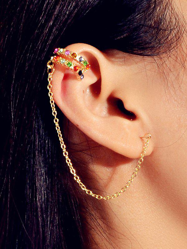Chain Colored Rhinestone Stud Ear Cuff - GOLD