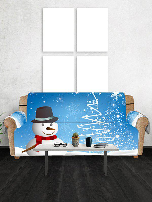 Christmas Star Tree Snowman Pattern Sofa Cover - DODGER BLUE THREE SEATS