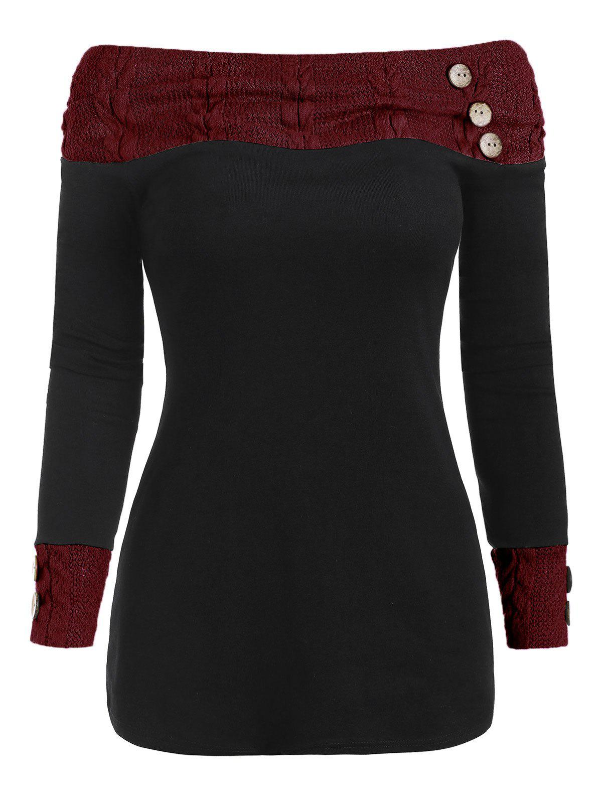 Off Shoulder Knit Panel Buttons Top - RED WINE 2XL