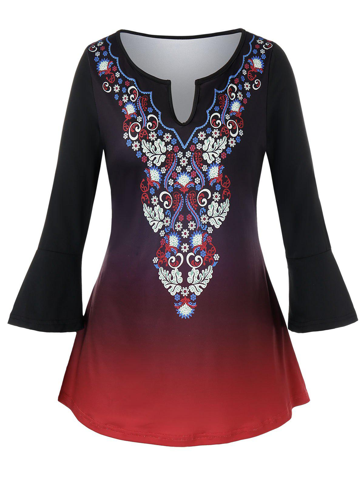 Plus Size Ethnic Floral Printed Ombre Top - BLACK L