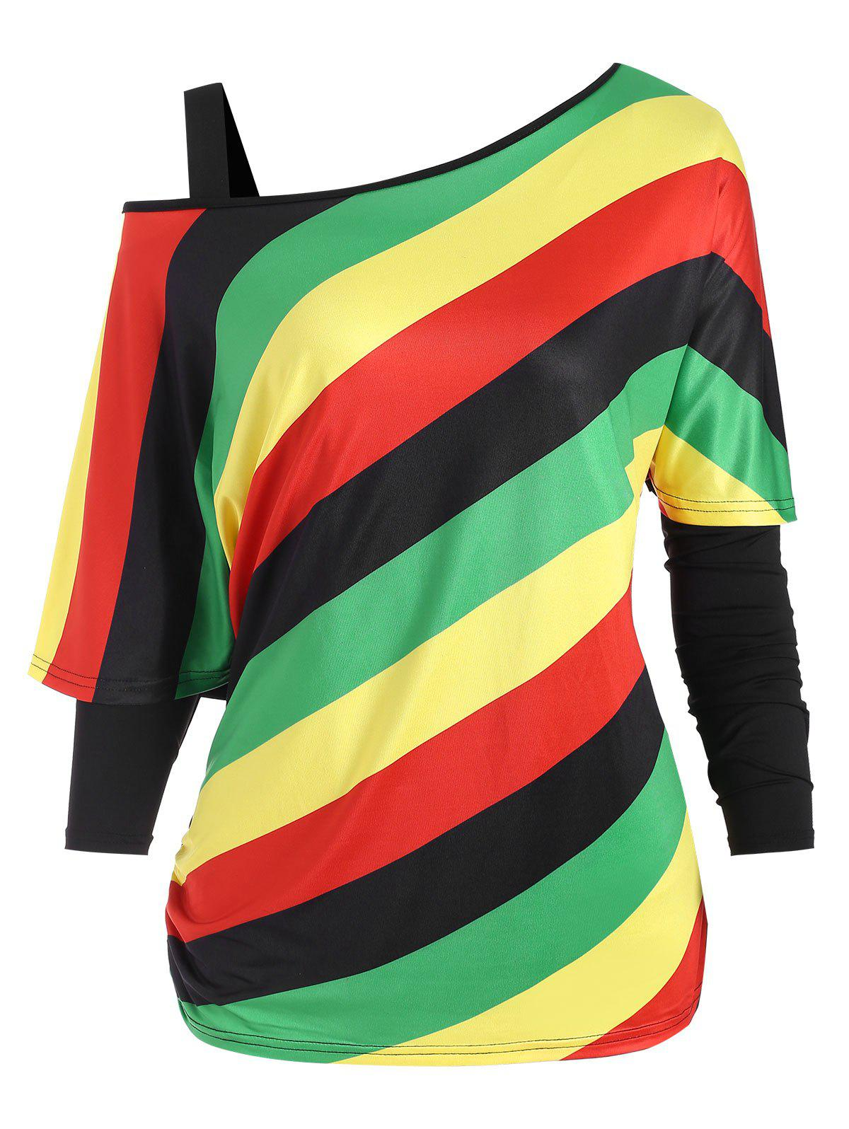 Cold Shoulder Tee and Rainbow Striped Plus Size Top Set - BLACK 1X