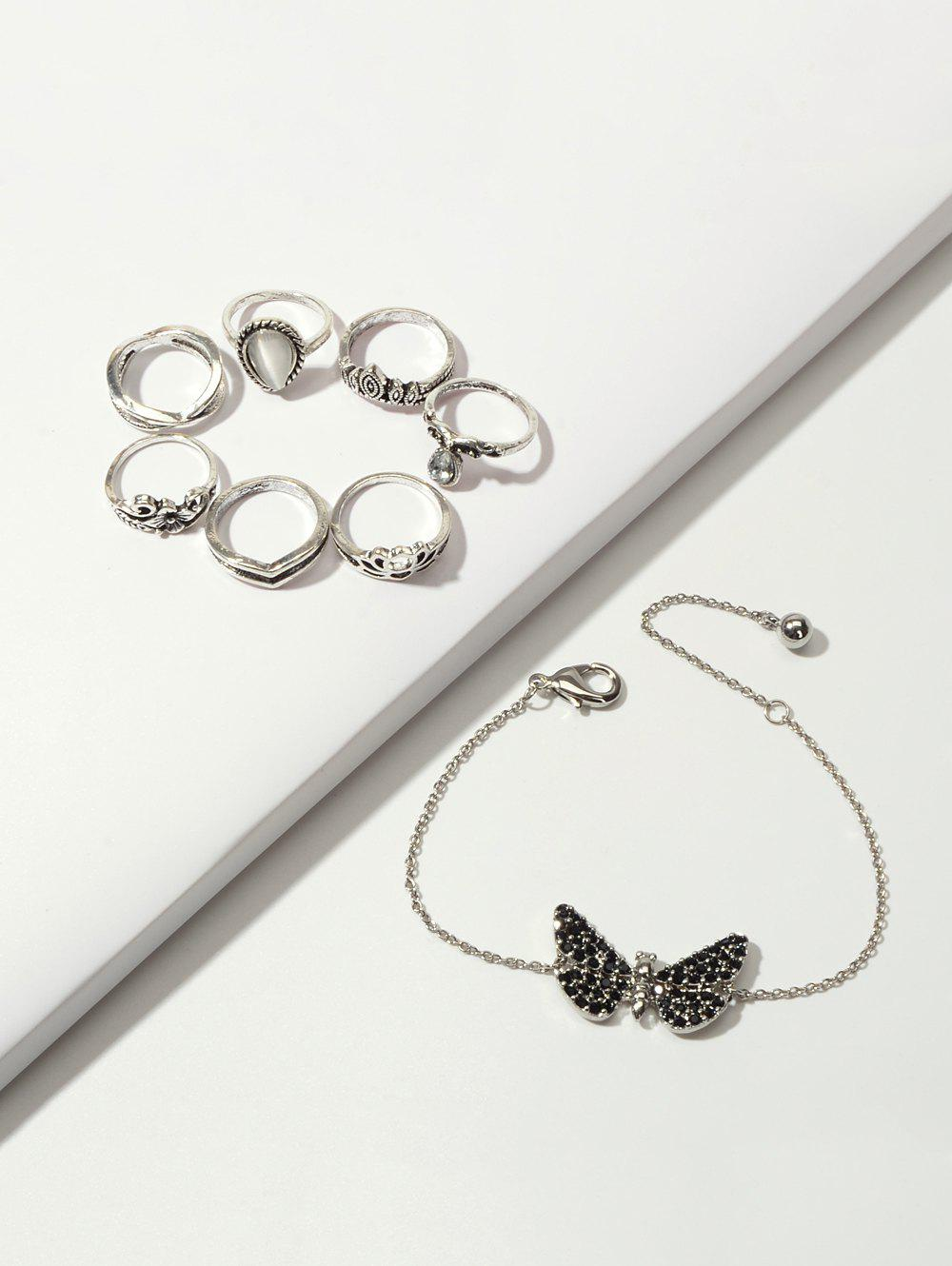 Crown Floral Ring And Butterfly Chain Bracelet Set - SILVER