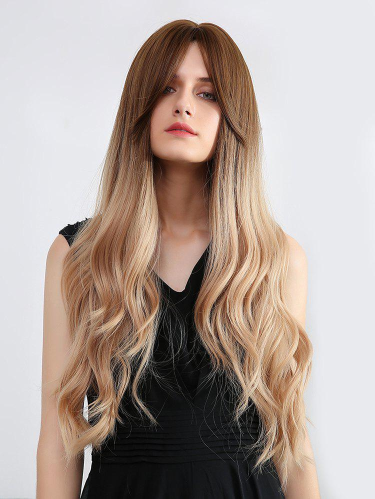 Center Part Long Body Wave Synthetic Ombre Wig - multicolor