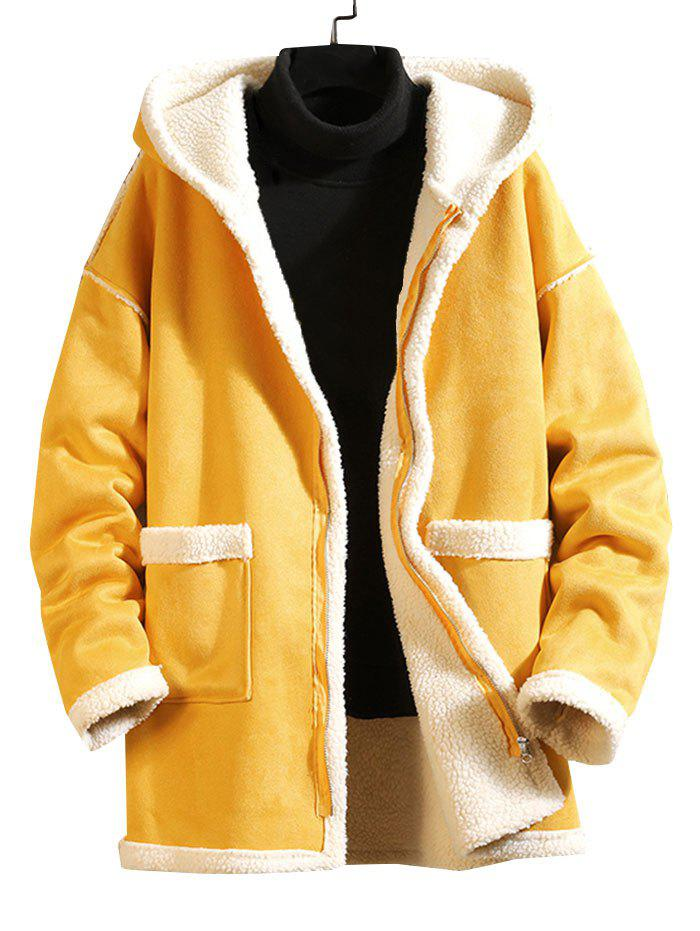 Solid Color Zipper Pocket Fluffy Coat - YELLOW 4XL