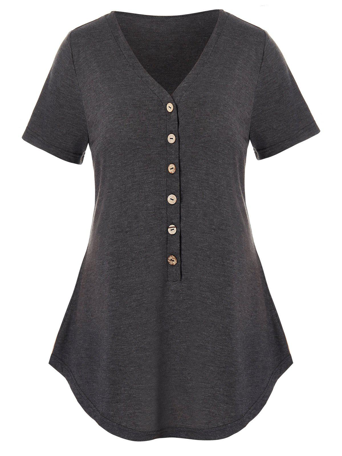 Plus Size Half Button Curved T Shirt - CARBON GRAY 2X
