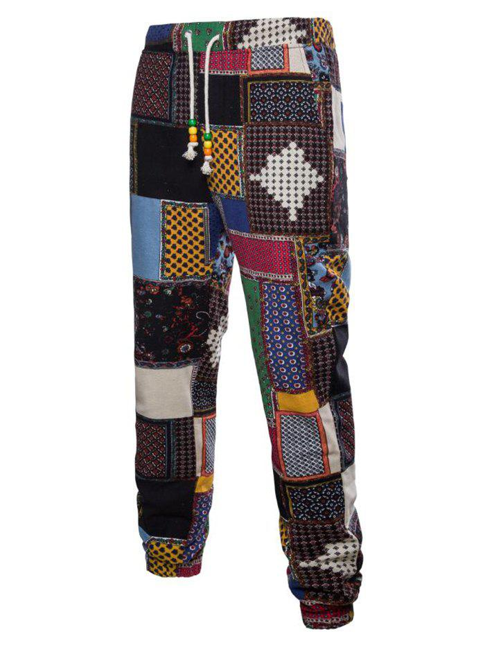 Tribal Ditsy Patchwork Print Casual Jogger Pants - multicolor A L