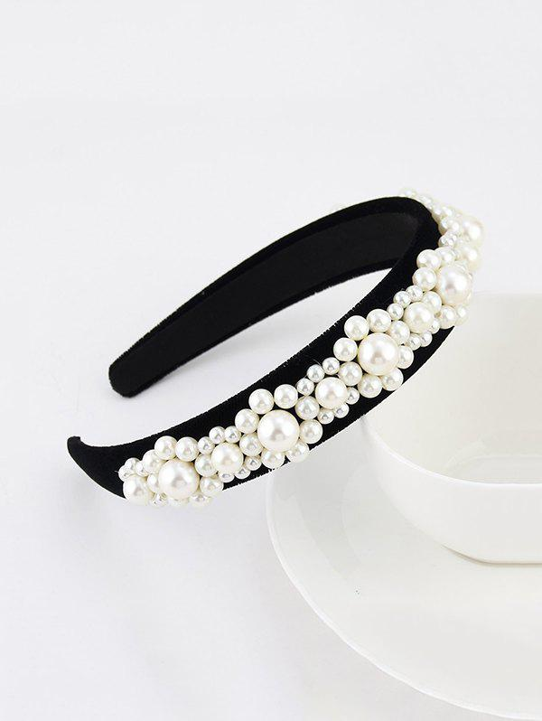Baroque Faux Pearl Velour Wide Hairband - BLACK
