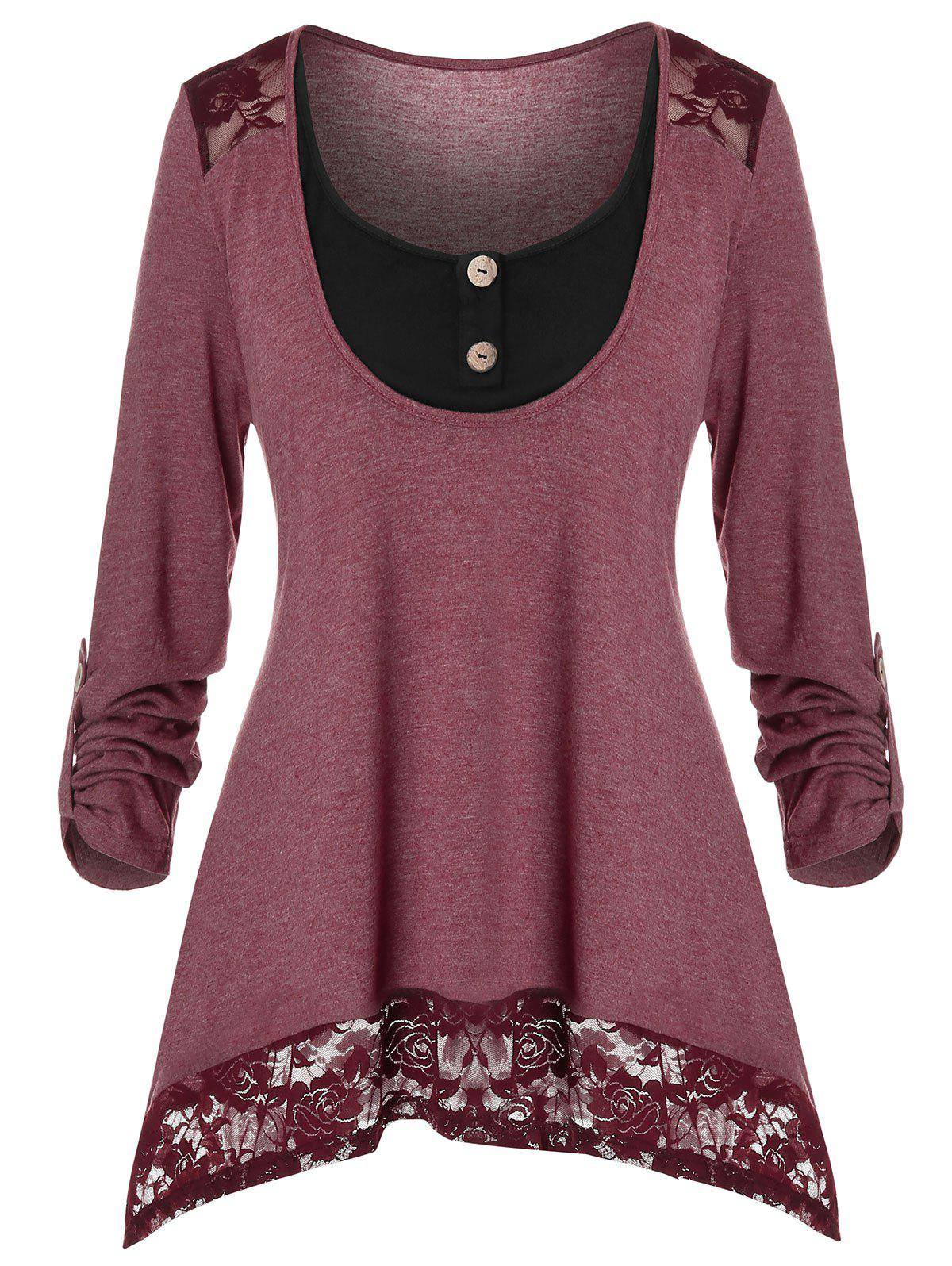 Plus Size Floral Lace Panel Long Sleeve Top - TULIP PINK 5X