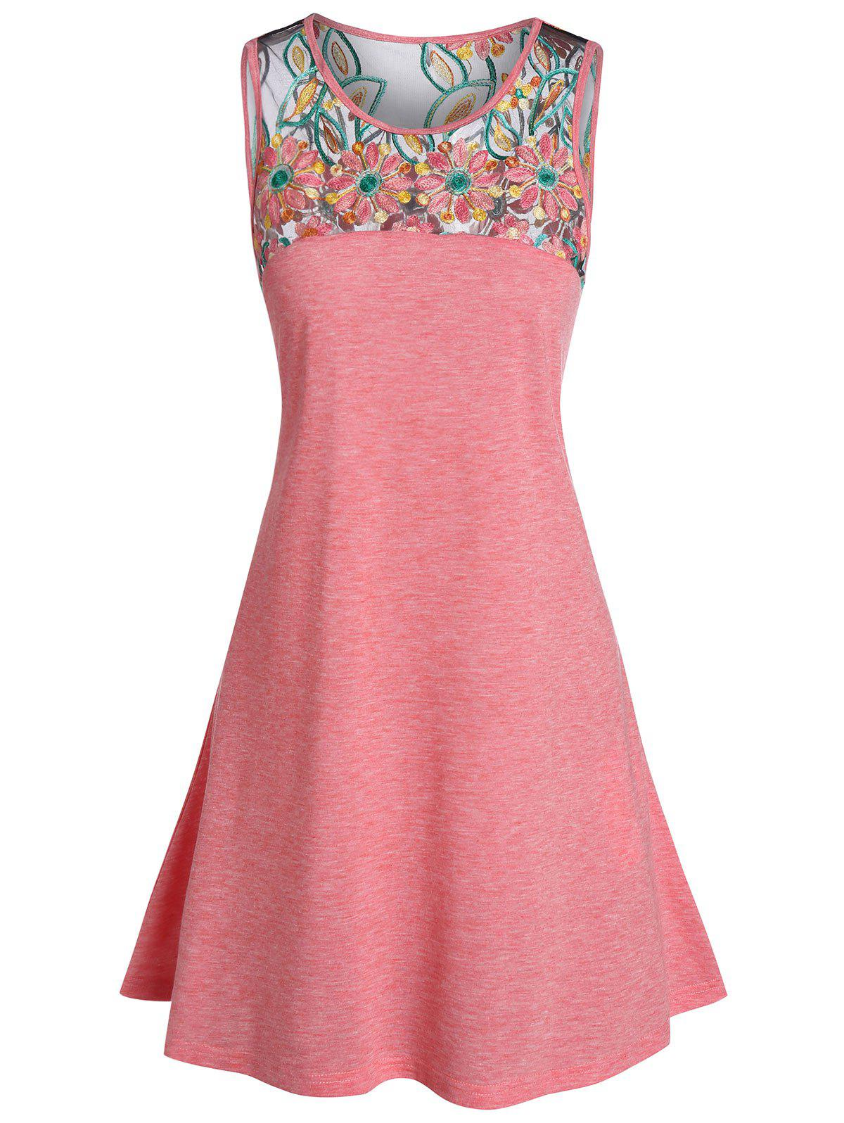 Embroidered Mini Tank Dress - PINK 3XL