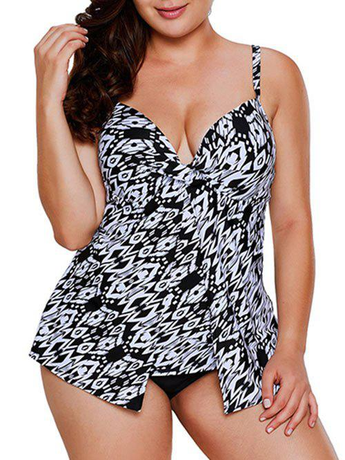 Geo Print Twist Push Up Plus Size Tankini Swimsuit - WHITE L