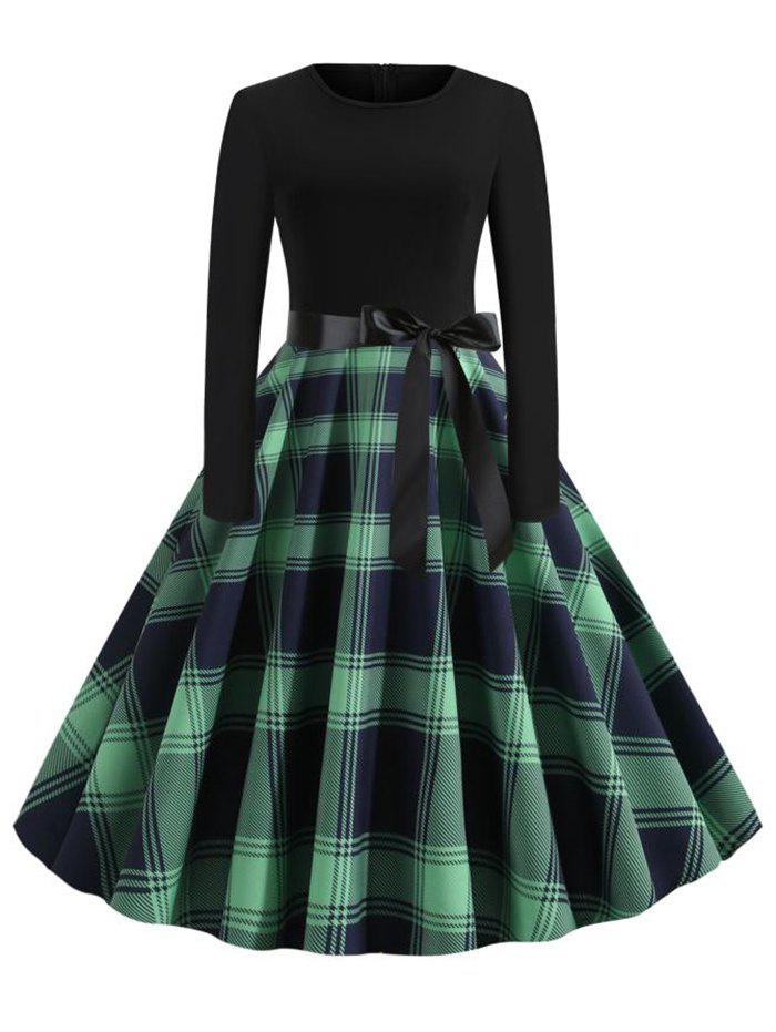 Plaid Long Sleeve Belted Plus Size Vintage Dress - GREEN 1X