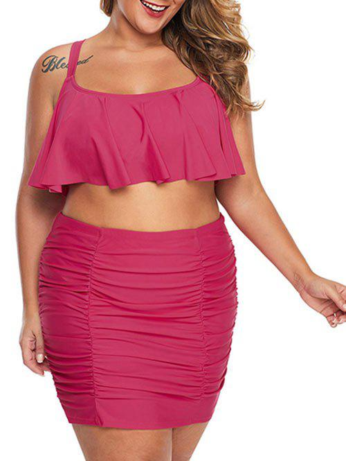 Flounce Crisscross Ruched Plus Size Skirted Bikini Swimsuit - ROSE RED 1X