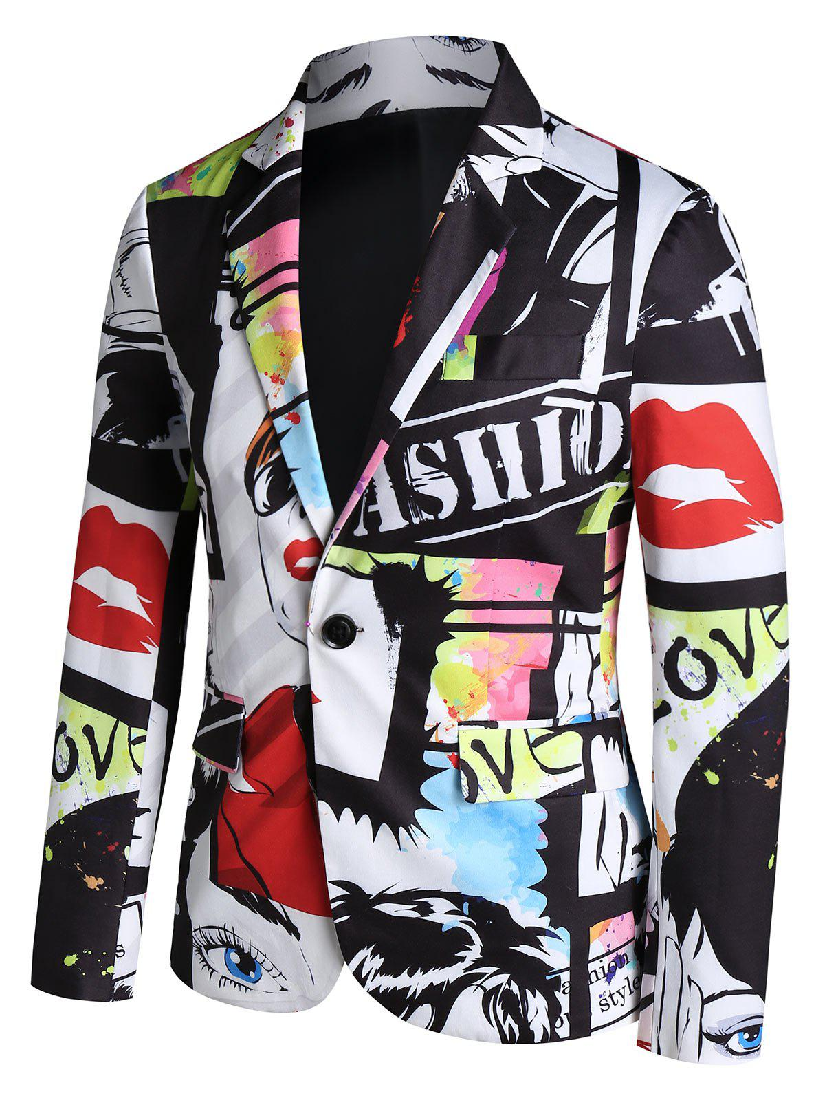 One Button Blazer Graffiti Imprimer - multicolor A 3XL