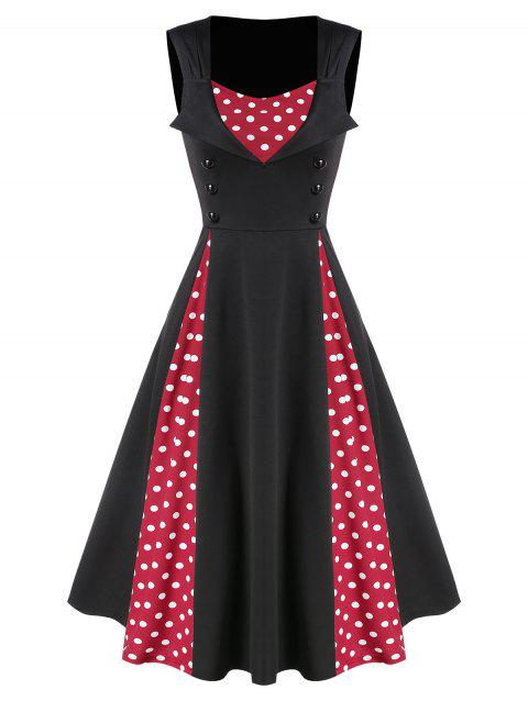 Button Polka Dots Patchwork A Line Dress