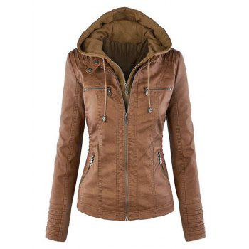 Plus Size Detachable Hood Zipper Faux Leather Jacket