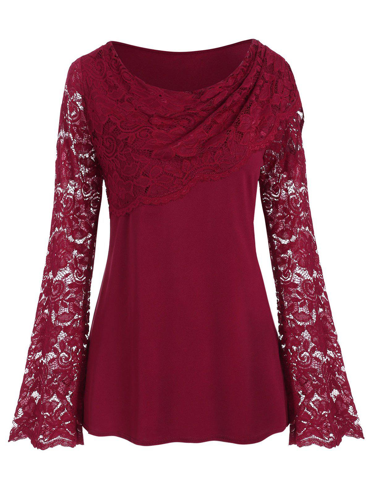 Lace Panel Long Sleeve Solid Plus Size Top - RED WINE 5X