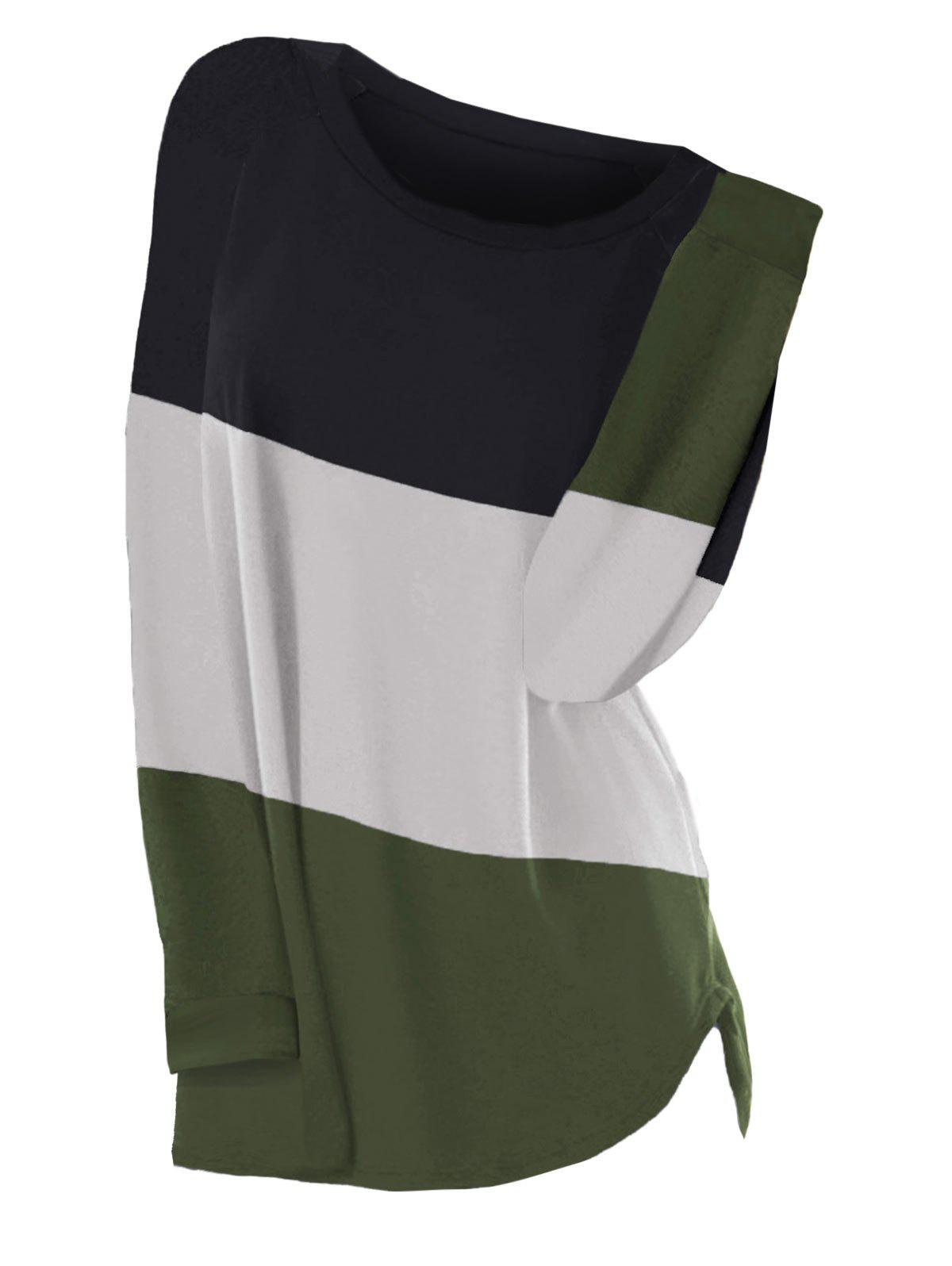 Colorblock Raglan Sleeve Curved Hem Plus Size Top - GREEN 2X