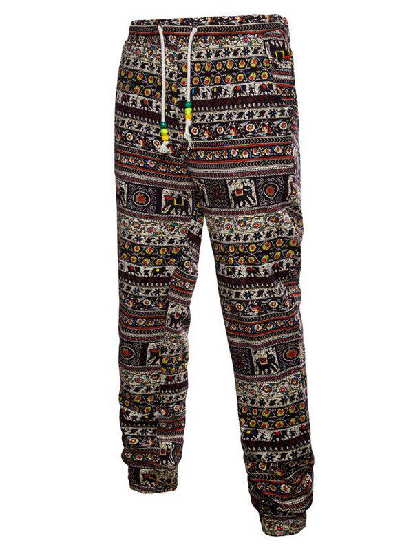 Ethnic Tribal Ditsy Graphic Print Jogger Pants - multicolor C XL