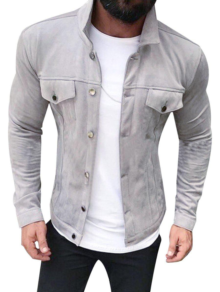 Solid Color Button Up Suede Jacket - GRAY XS
