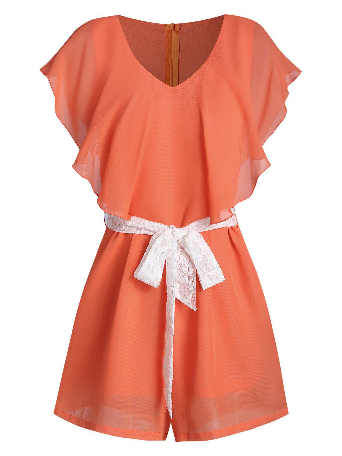 Ruffled V Neck Belted Romper - multicolor A 3XL
