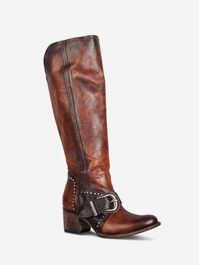 Ruched Buckled Chunky Heel Knee High Boots - BROWN EU 37