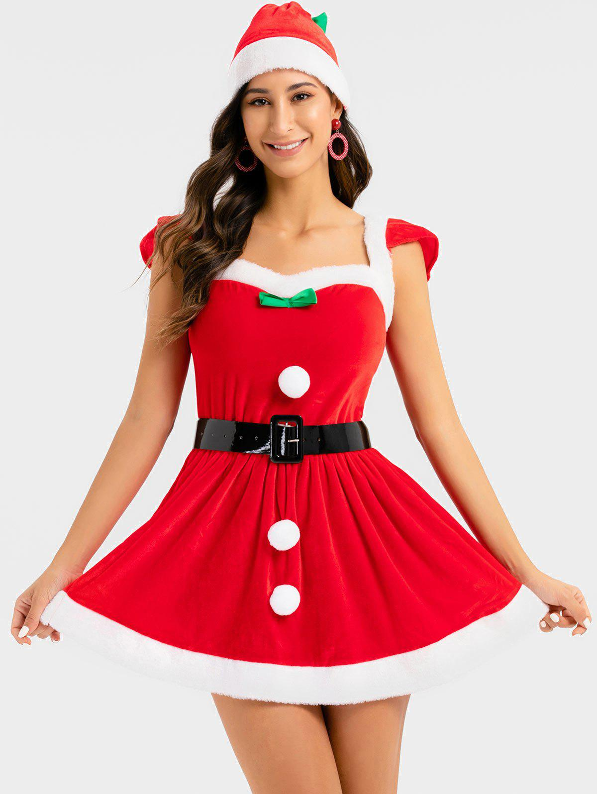 Christmas Bowknot Cosplay Santa Claus Dress with Hat - RED ONE SIZE