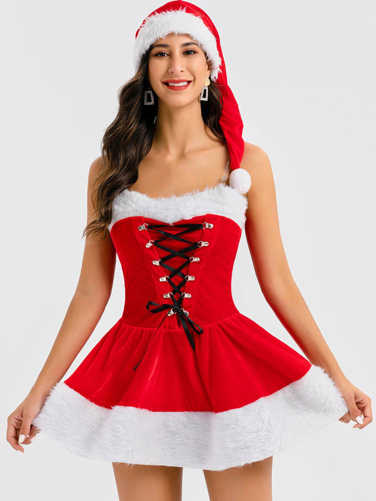 Christmas Lace Up Cosplay Santa Claus Dress with Hat - RED ONE SIZE
