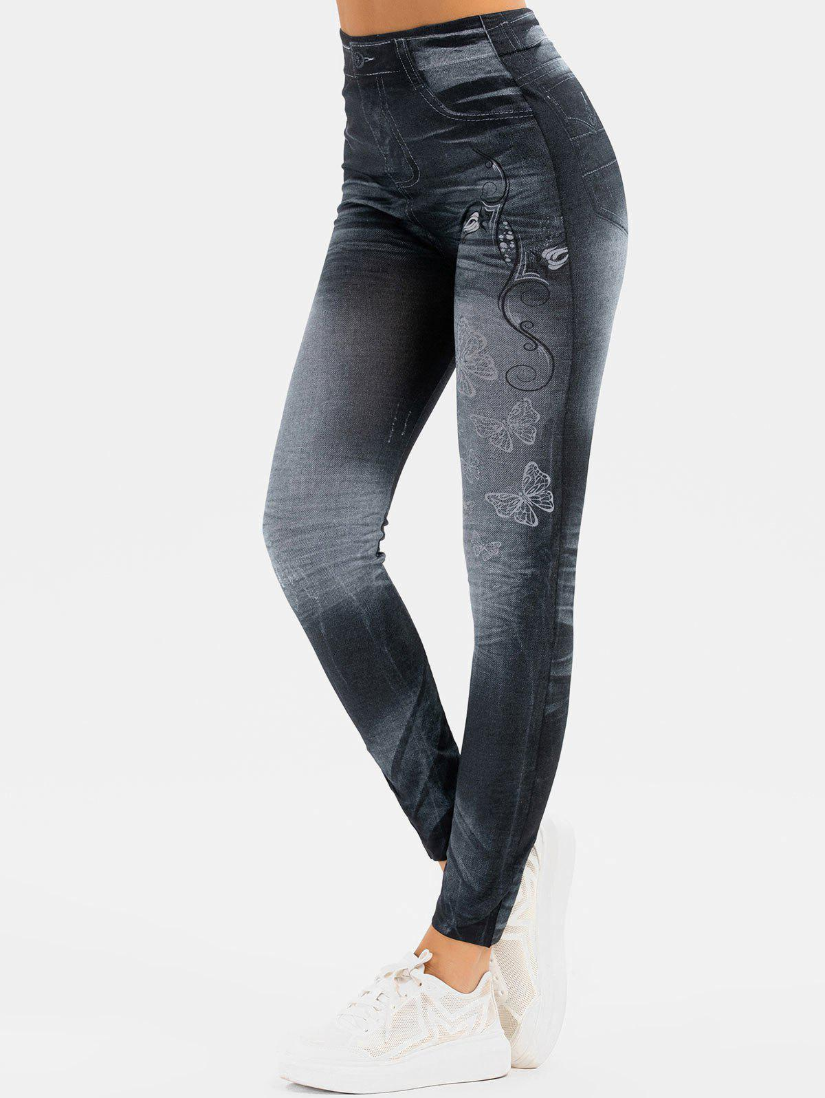 Butterfly Printed Skinny 3D Jeggings - BLACK ONE SIZE