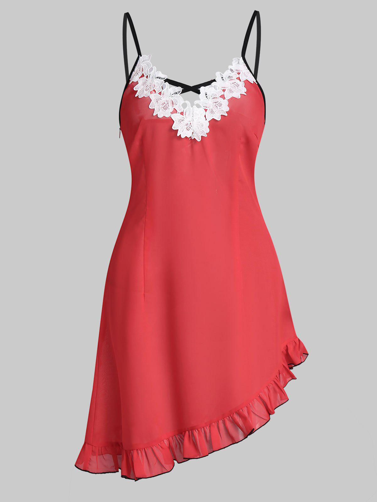 Crisscross Lace Insert Asymmetric Cami Dress - WATERMELON PINK 3XL