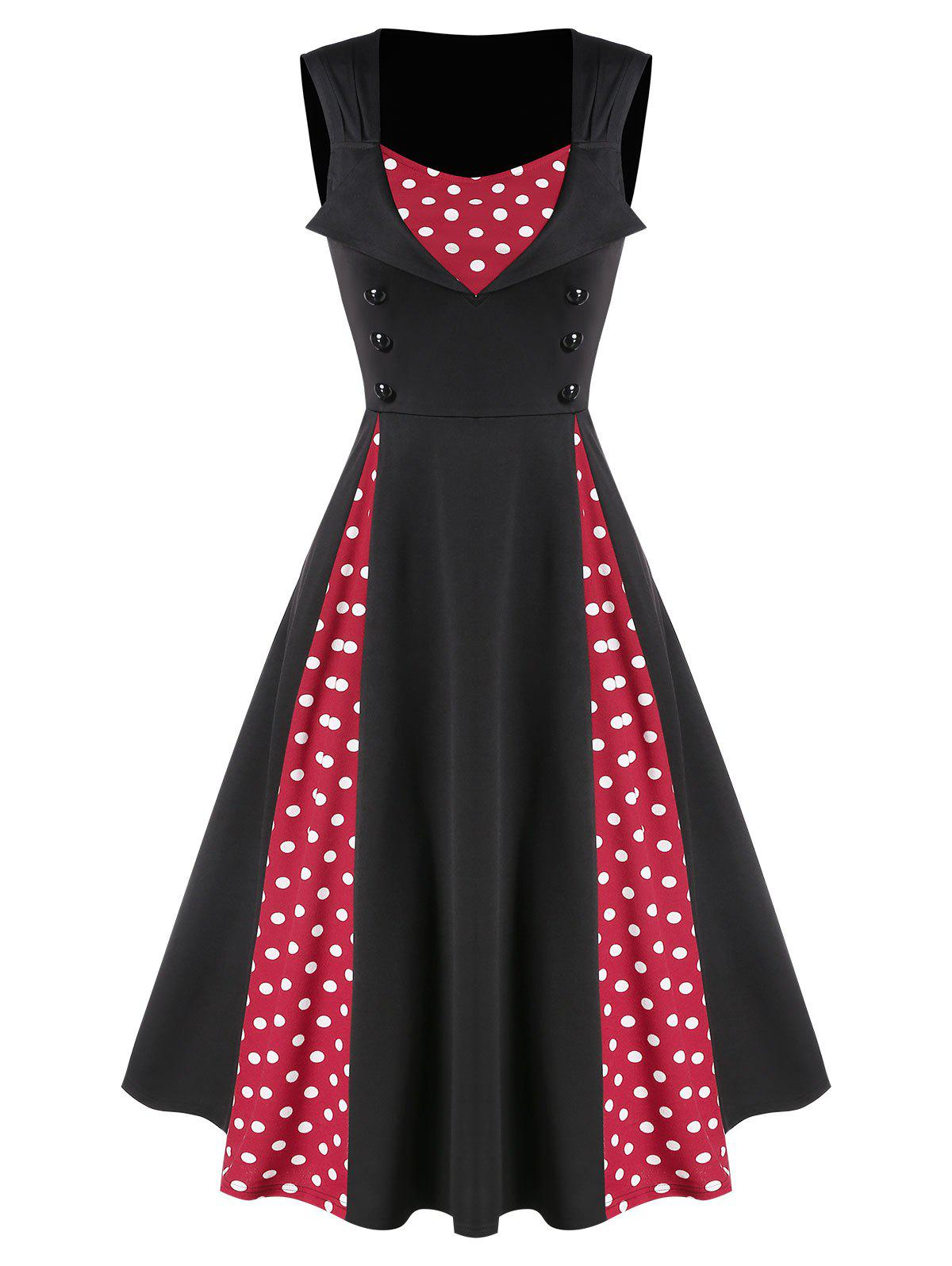 Button Polka Dots Patchwork A Line Dress - LAVA RED L