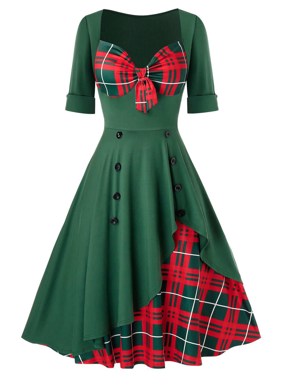 Plus Size Vintage Front Knot Christmas Printed Swing Dress - DEEP GREEN 4X
