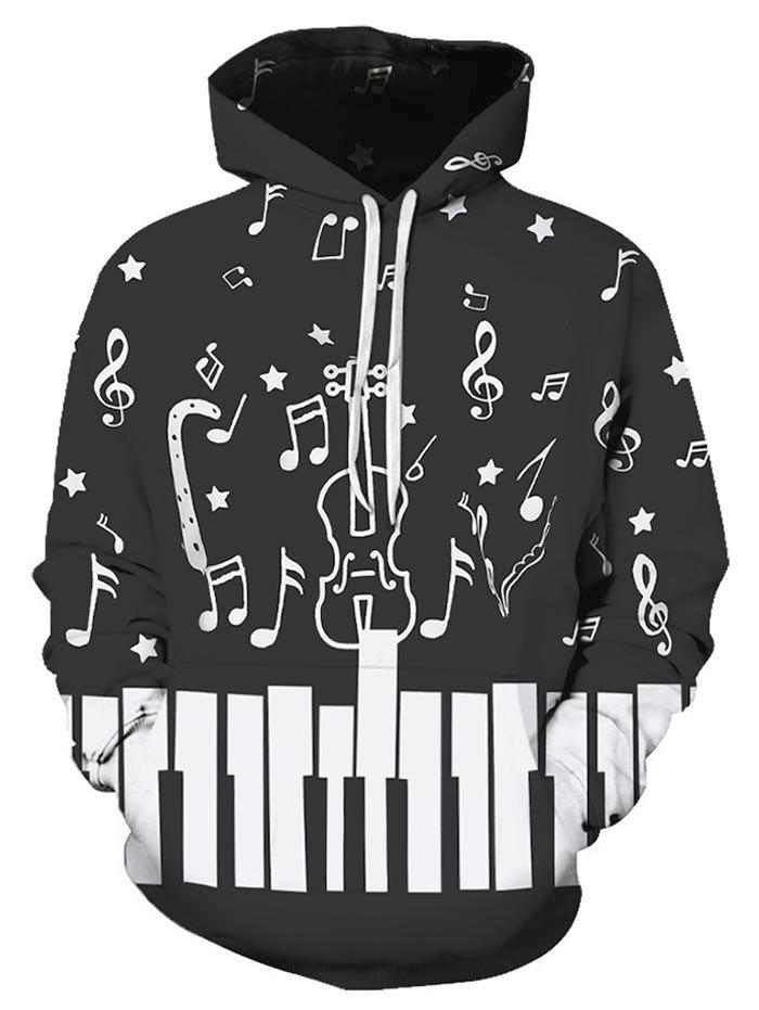 Musical Note Printed Pocket Design Hoodie - multicolor 2XL