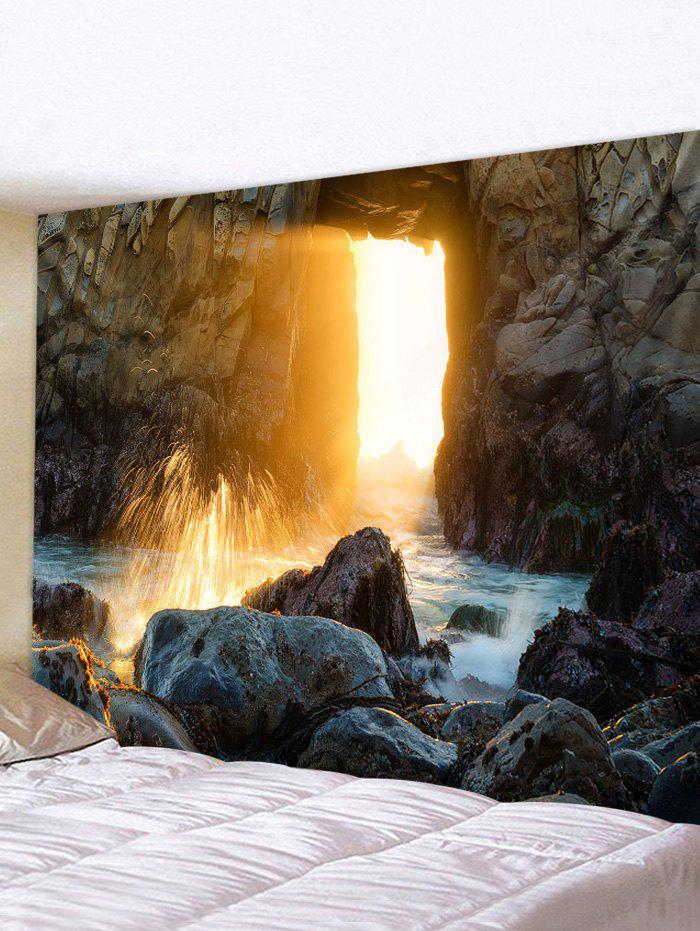 Sunlight Stream Stones Print Tapestry Wall Hanging Art Decoration - multicolor W71 X L71 INCH